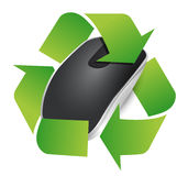 Recycle sign and Wireless computer mouse Stock Photo