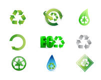 Recycle signs icon set illustration Royalty Free Stock Photos