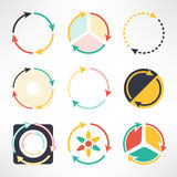 Recycle simple flat icons set. Round arrows. Symbols. Ecology concept. Vector illustration Stock Image