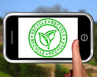 Recycle On Smartphone Shows Environmental Care Royalty Free Stock Image