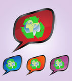 Recycle stickers. In gray background Royalty Free Stock Photography
