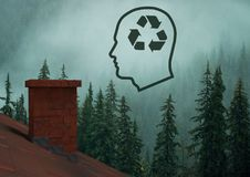 Recycle sustainable icon in head over forest roof. Digital composite of Recycle sustainable icon in head over forest roof Stock Images