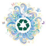 Recycle symbol. With graphic clouds on background royalty free illustration