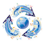 Recycle symbol. Surrounding the globe Stock Images