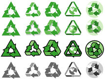 Recycle symbol. Illustration of recycle symbol in different styles royalty free illustration