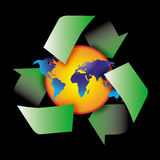 Recycle symbol. Am image showing the world with a globe shape behind encircled by three recycle green arrows symbol Stock Photos