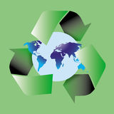 Recycle symbol. Am image showing the world with a globe shape behind encircled by three recycle green arrows symbol stock illustration