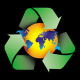 Recycle symbol. Am image showing the world with a globe shape behind encircled by three recycle green arrows symbol Royalty Free Stock Image