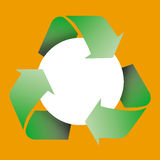 Recycle symbol. Am image showing a blank circle encircled by three recycle green arrows symbol. The circle is blank so a message or image could be inserted Stock Photography
