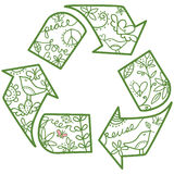 Recycle Symbol. Whimsical recycle symbol. Easy to change colors Stock Photo