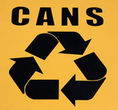 Recycle symbol. A yellow color of recycle symbol Stock Photos