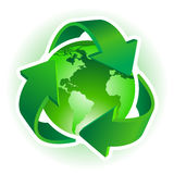 Recycle symbol. With Earth on white background. Vector illustration Stock Photography