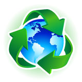 Recycle symbol. With blue Earth on white background. Vector illustration Stock Images