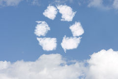 Recycle Symbol. A recycle symbol cloud in a blue sky, Recycle Symbol Stock Photos