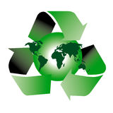 Recycle symbol. Am image showing the world with a globe shape behind encircled by three recycle green arrows symbol vector illustration