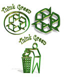 Recycle symbol 3 icons. Illustrated 3 dimensional icon or symbols for recycling Stock Photos