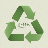 Recycle symbol. On light green cardboard background vector illustration