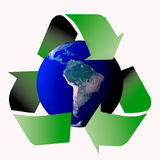 Recycle symbol. Am image showing the world encircled by three recycle green arrows symbol stock illustration