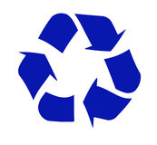 Recycle symbol. Blue recycle symbol on white - vector Royalty Free Stock Photos