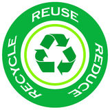 Recycle symbol. Green recycle symbol with reuse,reduce and recycle text stock illustration