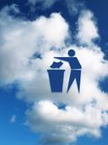 Recycle symbol. Recycle sign on sky background Stock Photos