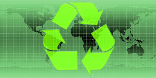 Recycle Symbol. Green ecological map with recycle symbol Royalty Free Stock Photo