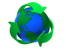 Recycle Symbol Around the Earth Royalty Free Stock Photos