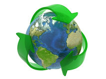 Recycle Symbol Around the Earth Stock Images