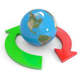 Recycle symbol around earth. Global economy. Royalty Free Stock Image