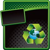 Recycle symbol around earth on halftone ad Royalty Free Stock Image