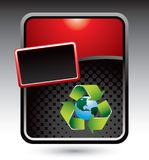 Recycle symbol around earth on red stylized ad Royalty Free Stock Images