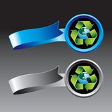 Recycle symbol around earth on ribbons Royalty Free Stock Photos