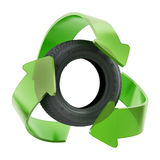 Recycle symbol around used tyre. 3D illustration Stock Photos