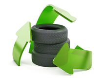 Recycle symbol around used tyres. 3D illustration Royalty Free Stock Photography