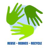Recycle Symbol As Green Hands. An illustration featuring 3 green hands as the recycle symbol, with the words - reuse, reduce and recycle at the bottom (this can stock illustration