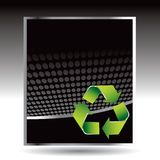 Recycle symbol on black halftone advertisement Stock Photo