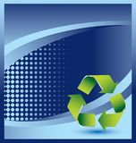 Recycle symbol on blue halftone advertisement Stock Photography