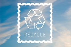 Recycle symbol on blue sky Royalty Free Stock Images