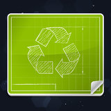Recycle Symbol Blueprint Icon Stock Photography