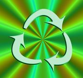 Recycle symbol on bright Green Royalty Free Stock Photography