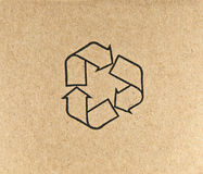 Recycle symbol on brown paper Royalty Free Stock Photography