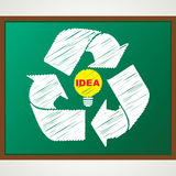 Recycle symbol with bulb sketch. Stock vector Royalty Free Stock Photos