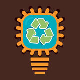 Recycle symbol in bulb. Stock Stock Photography