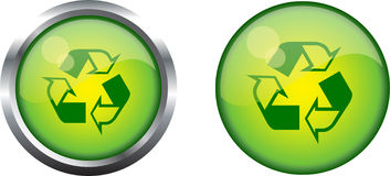 Recycle symbol button Royalty Free Stock Photos