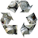 Recycle symbol with cans. Recycle symbol with crashed cans isolated on white background Royalty Free Stock Images