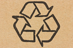 Recycle symbol on a cardboard. Recycle symbol printed on a recycled cardboard Stock Images