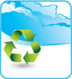 Recycle symbol on cloud background Royalty Free Stock Photography