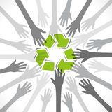 Recycle symbol  cocnept. Every people want recycle product concept background Royalty Free Stock Photo