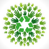 Recycle symbol  cocnept. Recycle symbol with hand background Royalty Free Stock Photo