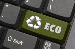 Recycle symbol on a Computer keyboard Stock Photography